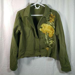 stevie hender M crop jacket embroidered raw hem